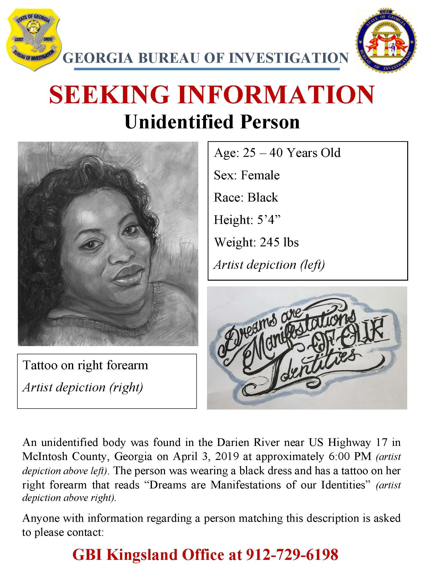 Female Recovered from Darien River Identified - Arrest Warrant